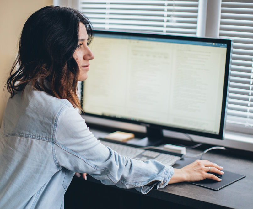 A woman using a computer